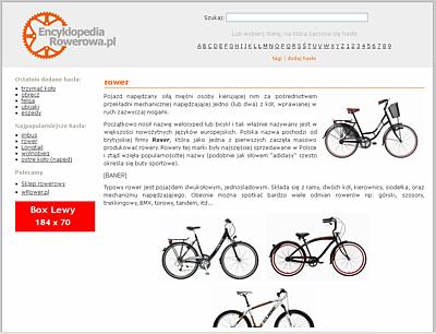 Reklama na portalu EncyklopediaRowerowa.pl